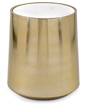 Metal and Marble Drum Table, , rollover
