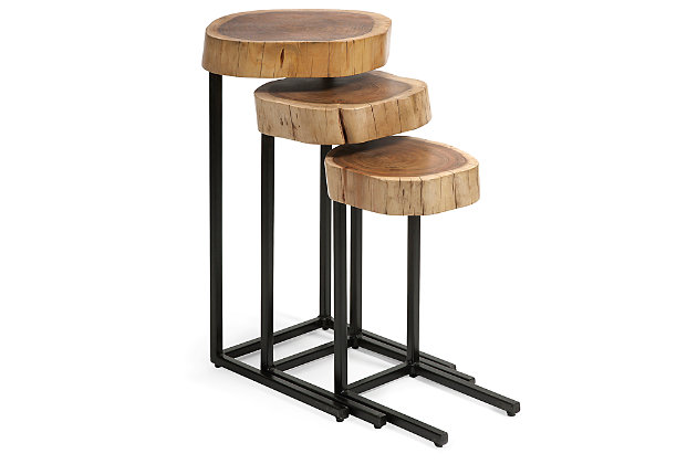 Wood and Iron Nesting Tables (Set of 3), , large