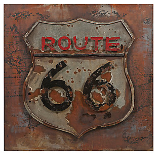 Distressed Route 66 Dimensional Metal Art, , large