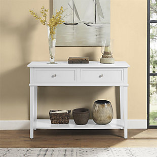 Nia Cottage Hill Console Table, White, rollover