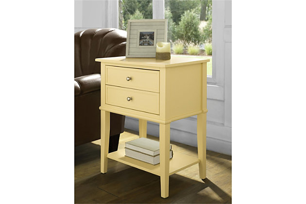 Nia Cottage Hill Accent Table with 2 Drawers, Yellow, large
