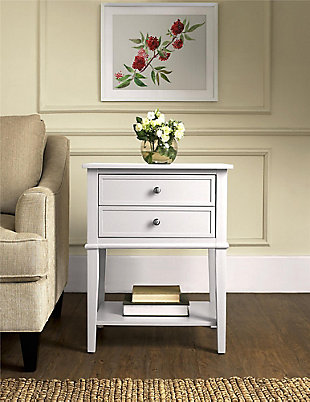 Nia Cottage Hill Accent Table with 2 Drawers, White, rollover