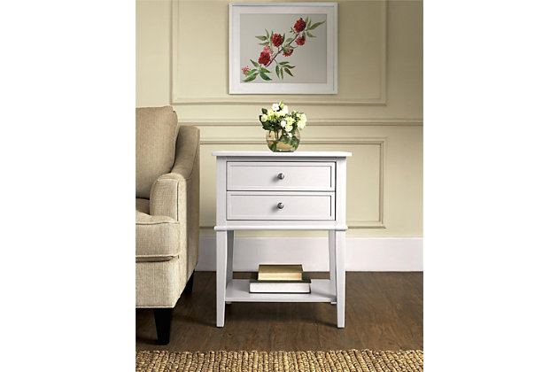 Nia Cottage Hill Accent Table with 2 Drawers, White, large