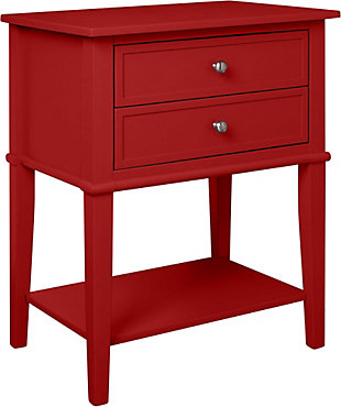 Nia Cottage Hill Accent Table with 2 Drawers, Red, large