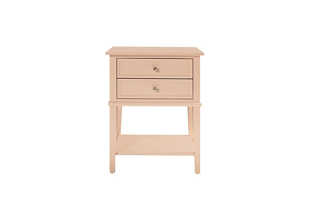 Nia Cottage Hill Accent Table with 2 Drawers, Pink, large