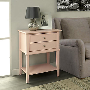 Nia Cottage Hill Accent Table with 2 Drawers, Pink, rollover