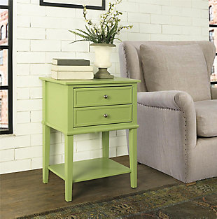 Nia Cottage Hill Accent Table with 2 Drawers, Green, rollover