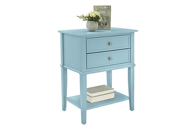 Nia Cottage Hill Accent Table with 2 Drawers, Blue, large