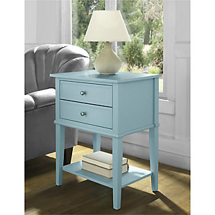 Nia Cottage Hill Accent Table with 2 Drawers, Blue, rollover