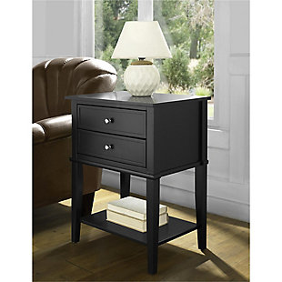Nia Cottage Hill Accent Table with 2 Drawers, Black, large
