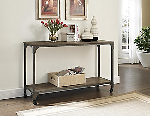 Distressed Wood Veneer Console Table, , rollover