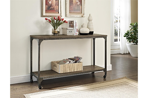 Distressed Wood Veneer Console Table, , large