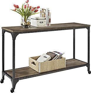 Distressed Wood Veneer Console Table, , large