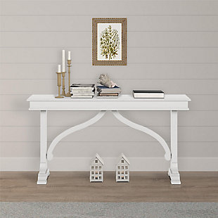 Carolina Wood Veneer Console Table, Ivory, rollover