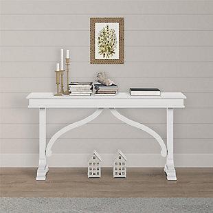 Carolina Wood Veneer Console Table, Ivory, rollover