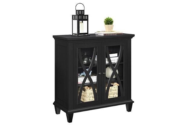 Meira Double Door Accent Cabinet, Black, large
