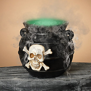 Decorative 14-Inch Diameter Color Changing Illuminated Smoking Cauldron, , rollover