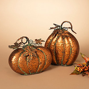Decorative Assorted Metal Harvest Tabletop Pumpkins (Set of 2), , rollover
