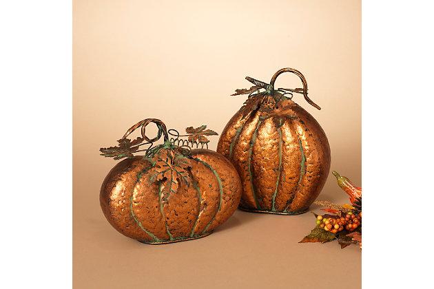 Decorative Assorted Metal Harvest Tabletop Pumpkins (Set of 2), , large