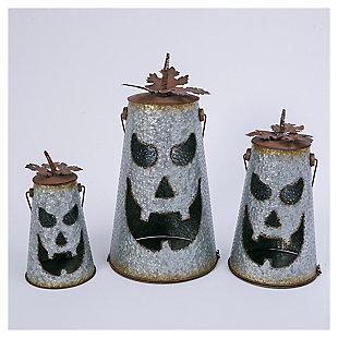 Decorative Hammered Metal Jack-O-Lantern Luminaries (Set of 2), , large