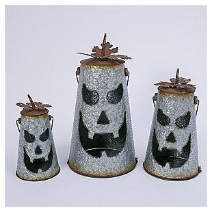 Decorative Hammered Metal Jack-O-Lantern Luminaries (Set of 2), , large