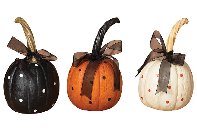 Decorative Polka Dot Halloween Pumpkins with Ribbon (Set of 3), , large