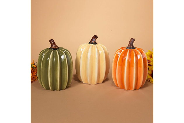 Decorative 8-inch High Ribbed Dolomite Harvest Pumpkins (Set of 3), , large