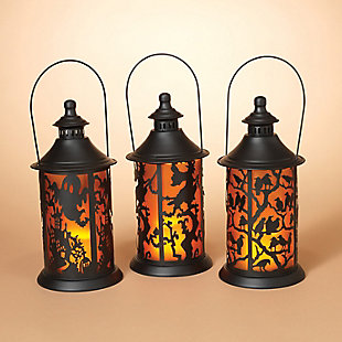 Decorative Battery-Operated Metal Lanterns with LED Candle (Set of 3), , large