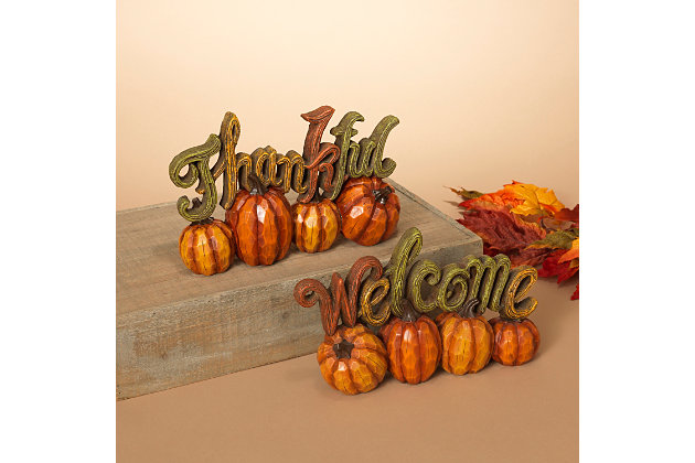 Decorative Resin Harvest Thanksgiving  Tabletop Décor (Set of 2), , large
