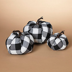 Decorative Fabric Black and White Plaid Pumpkins (Set of 3), , large