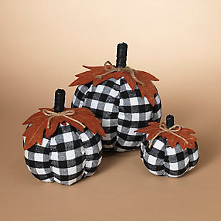 Decorative Fabric Plaid Pumpkins with Leaf Accent (Set of 3), , large
