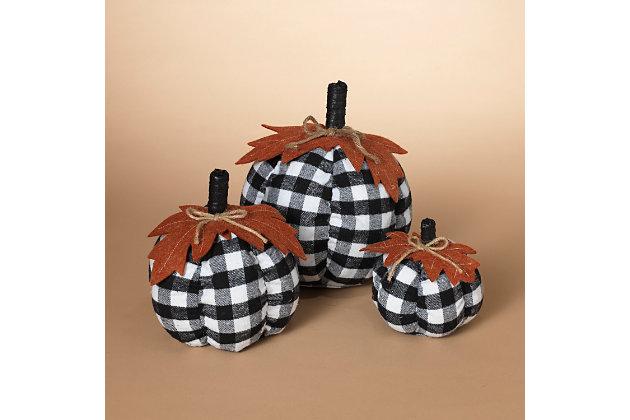 Decorative Fabric Plaid Pumpkins with Leaf Accent (Set of 3), , large