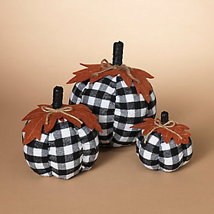 Decorative Fabric Plaid Pumpkins With Leaf Accent (set Of 3), , rollover