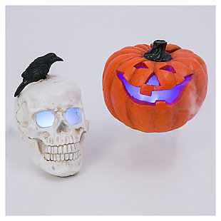 Decorative Resin Electric Smoking Jack-O-Lantern and Skull (Set of 2), , large