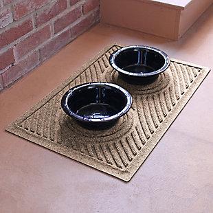 Dog Bowl Aqua Shield Wave Pet Feeding Mat, Camel, large