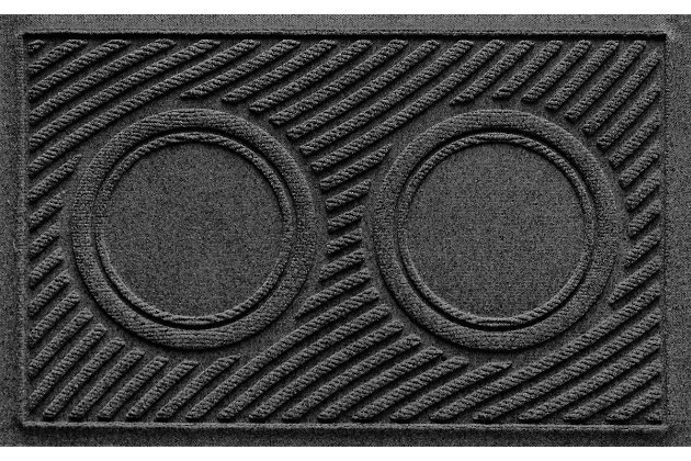 Dog Bowl Aqua Shield Wave Pet Feeding Mat, Charcoal, large
