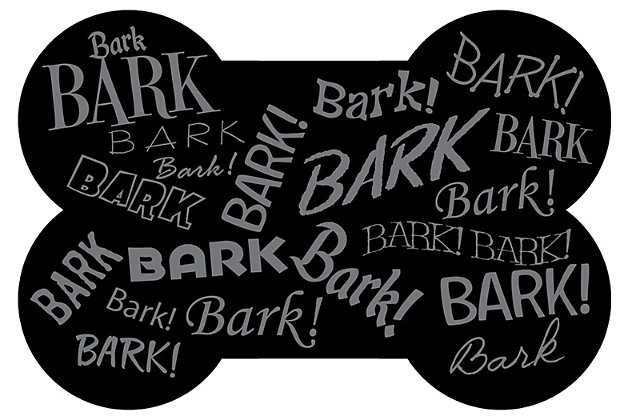 Surfaces Aqua Shield Bark Bark Bone Pet Feeding Mat, Black, large