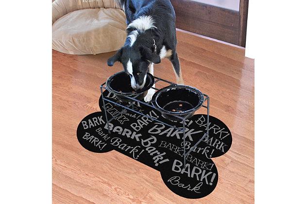 Surfaces Aqua Shield Bark Bark Bone Pet Feeding Mat, Black, large