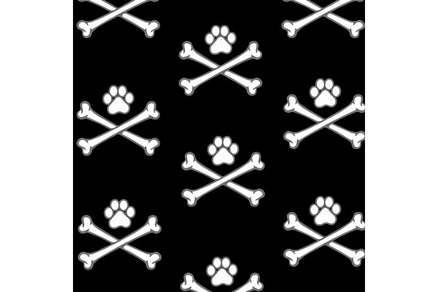 Surfaces Matey Skull Bone Pet Feeding Mat, Black, large