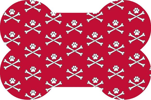 Surfaces Matey Skull Bone Pet Feeding Mat, Red, large