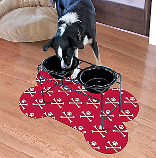 Surfaces Matey Skull Bone Pet Feeding Mat, Red, rollover