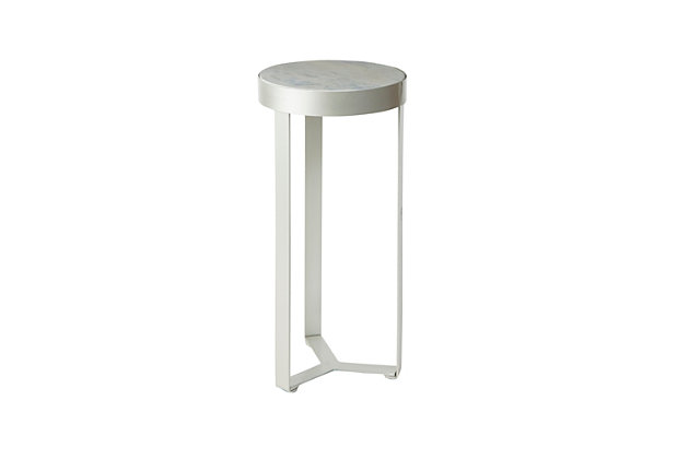 Batos Faux Marble Round Accent Table, Silver, large