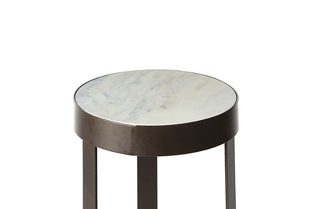 Batos Faux Marble Round Accent Table, Gunmetal, large