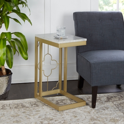 Camba Double Square Quatrefoil C-Table, Gold, large