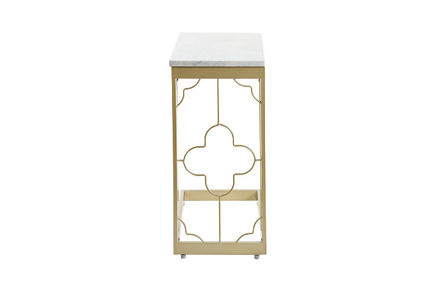 Camba Double Square Quatrefoil C-Table, Gold, large