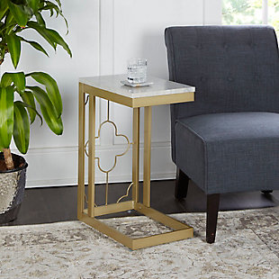 Camba Double Square Quatrefoil C-Table, Gold, rollover