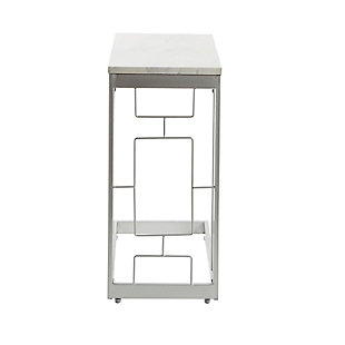 Camba Double Square C Table with Square  Accent, Silver, large
