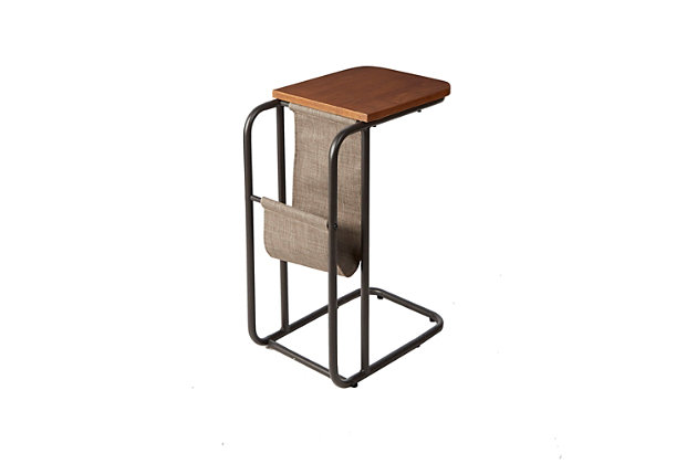 Derby Metal and Wood C Table with Sling Magazine Holder, , large