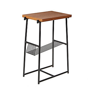 Derby Industrial Accent Table with Wire Magazine Rack, , large