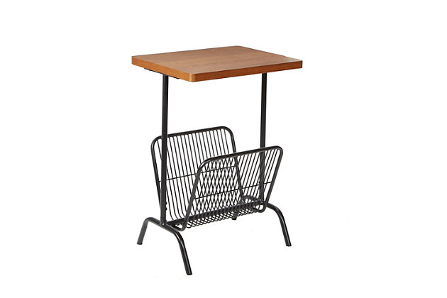 Derby Accent Table with Large Magazine Rack, , large